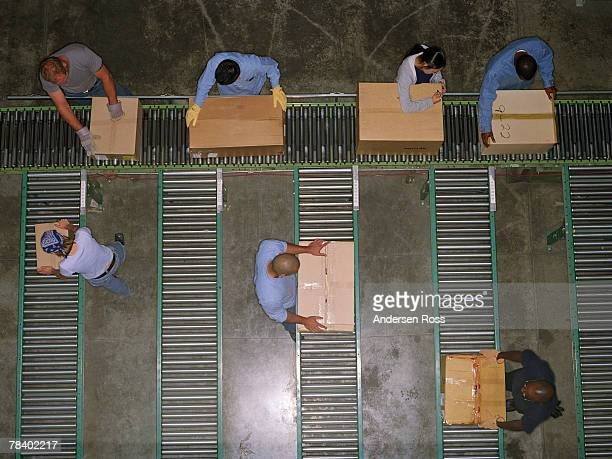 Workers at conveyor belts