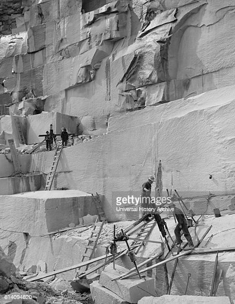 Workers at Granite Quarry New Hampshire USA circa 1908