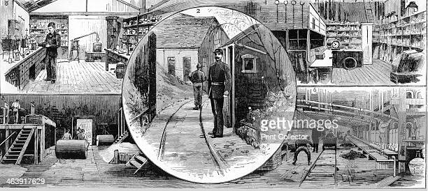 Workers at Nobel Explosives Company Limited Ardeer Ayrshire 1884 2 gate to Danger Department with searcher on duty 3 laboratory 4 stores 5...