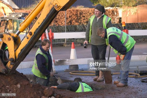 Workers at Road Construction Site in England