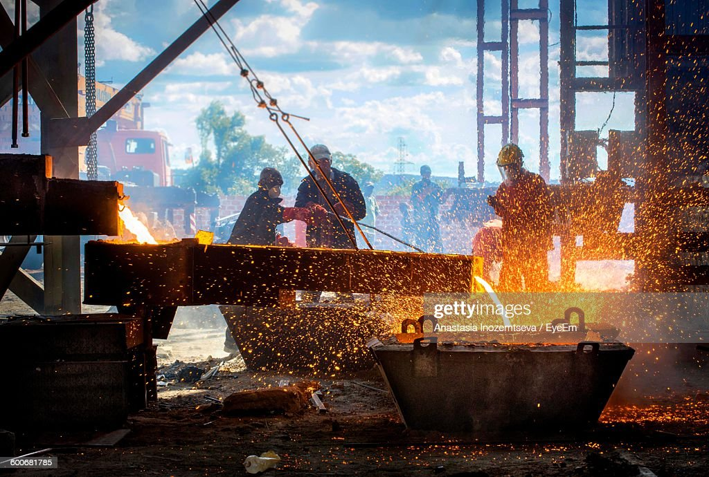 Workers At Steel Mill : Stock Photo