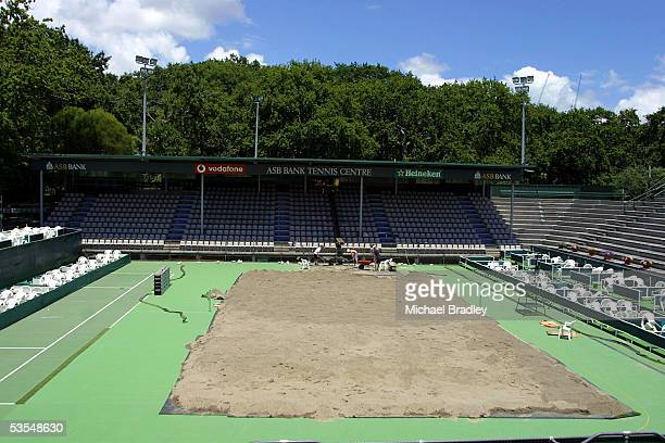 Workers at the ASB tennis centre move around 100 tonnes of sand onto centre court ahead of this weekends More FM NZ Open Beach Volleyball running...