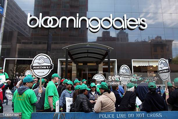 Workers at the Bloomingdale's department store flagship 59th Street store rally for a new contract on April 18 2012 in New York City The 2000 workers...