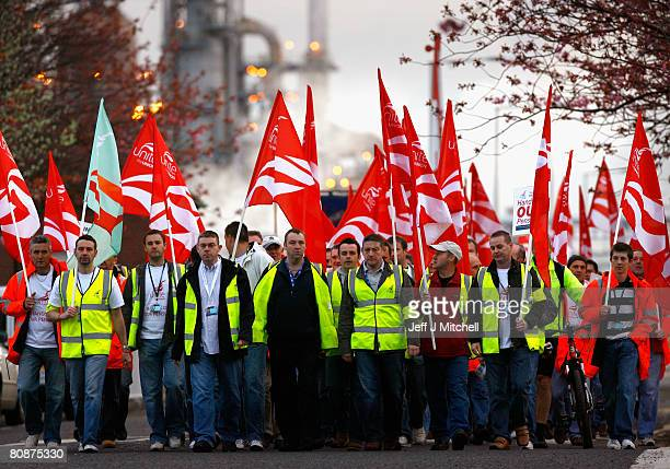 Workers at the Grangemouth oil refinery start their two day strike over a pension dispute on April 27, 2008 in Grangemouth, Scotland. Production...