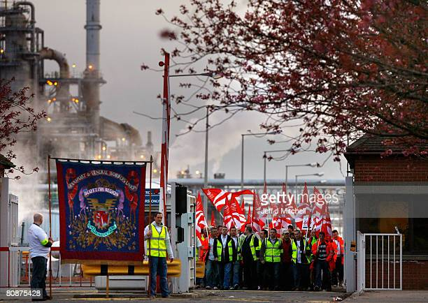 Workers at the Grangemouth oil refinery start their two day strike over a pension dispute April27, 2008 in Grangemouth, Scotland. Production ceased...