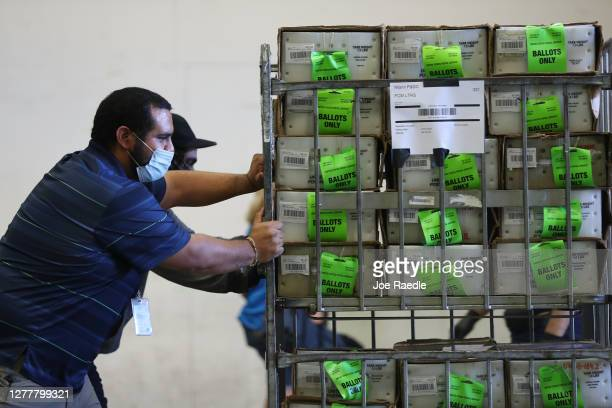 Workers at the Miami-Dade County Election Department move racks of vote-by-mail ballots onto a U.S. Post Office truck to be delivered to voters on...