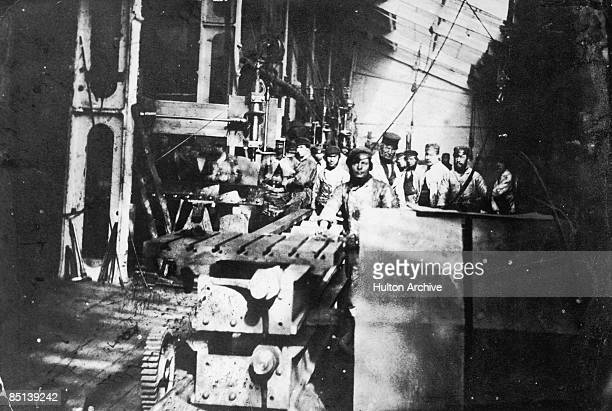 Workers at the Millwall Iron Works Ship Building And Graving Dock Company in Millwall East London circa 1875