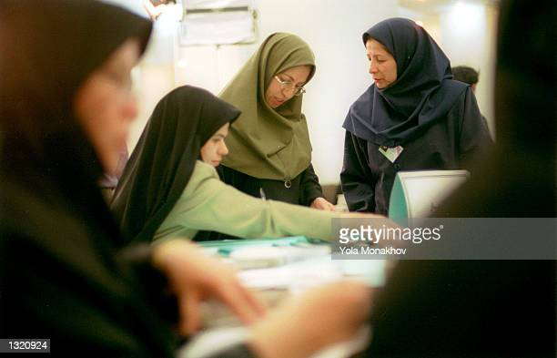 Workers at the Ministry of the Interior receive and tally election results from the regional offices around Iran to determine the results of the...