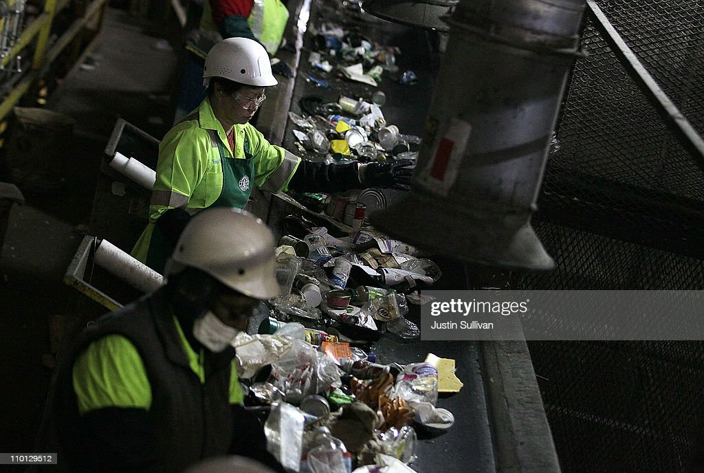 Workers at the Recology recycling facility sort through recyclables on March 15, 2011 in San Francisco, California. The multi-million dollar bottled water industry continues to prosper despite outrage from environmentalists who point out that at least half of the empty bottles end up in landfills instead of being recycled. Environmental groups are encouraging people to use reusable containers and get their water from the tap which is safe to drink in over 90 percent of the United States.