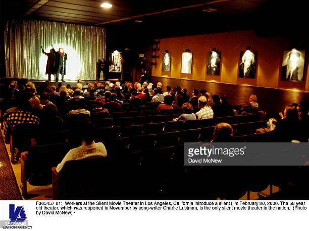 Workers at the Silent Movie Theater in Los Angeles California introduce a silent film February 26 2000 The 58 year old theater which was reopened in...