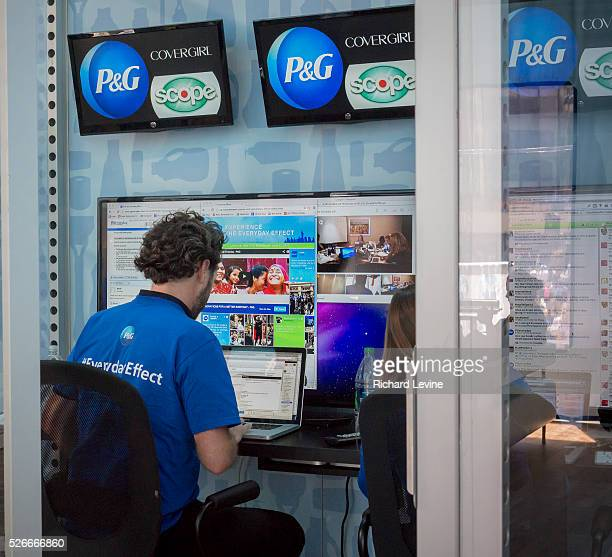 Workers at the social media command center during Procter Gamble's #EverydayEffect promotion in Herald Square in New York on Wednesday June 19 2013...