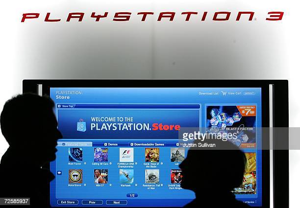 Workers at the Sony Playstation store set up a display featuring the the new online Playstation Store November 16 2006 in San Francisco California...