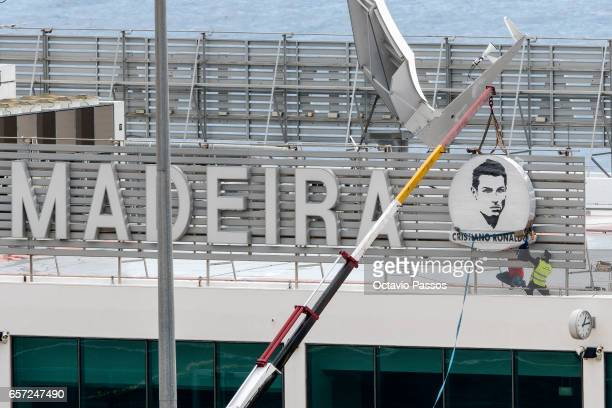 Workers began the renaming works of the Madeira International Airport on March 24 2017 in Funchal Madeira Portugal Local government have decided to...