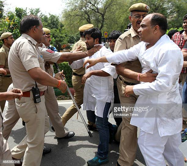 NSUI workers being baton charged by the police as they shout slogans against BJP MP and Union Minister Giriraj Kishore to protest his derogatory...