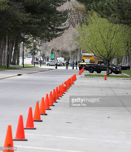 Workers block off parking spaces at the finish line of the Salt Lake City Marathon April 2013 in Salt Lake City Utah The Salt Lake City Marathon is...