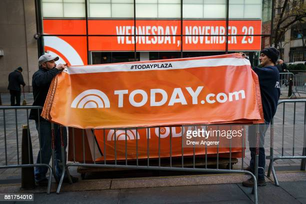 Workers break down the outside portrait of the set of NBC's Today Show November 29 2017 in New York City It was announced on Wednesday morning that...