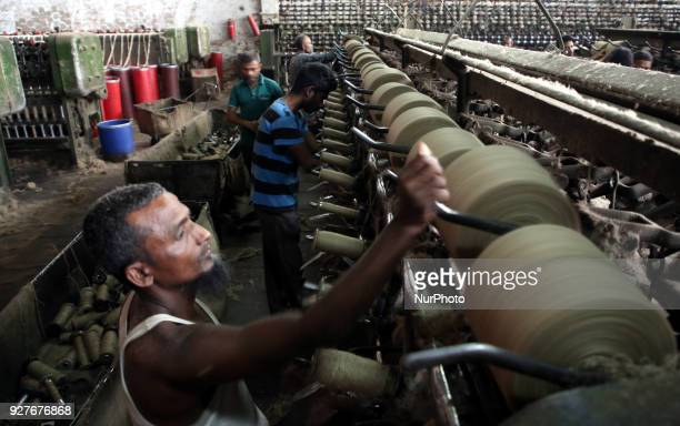 Workers busy in making jute sacks at Latif Bawany Jute Mills in Demra Dhaka on 5 March 2018 amid the country is ready to celebrate National Jute Day...