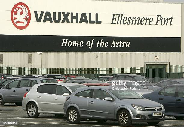 Workers cars are seen lined up at Vauxhall Motor Company's Astra production centre on May 12 Ellesmere Port England Workers at the plant walked out...