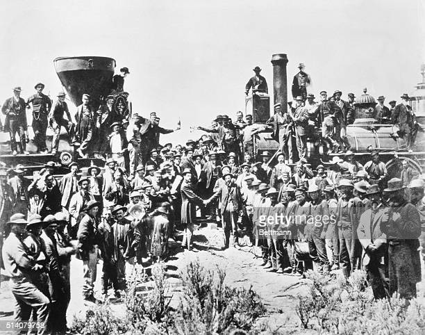 Workers Celebration Completion of the Transcontinental Railroad