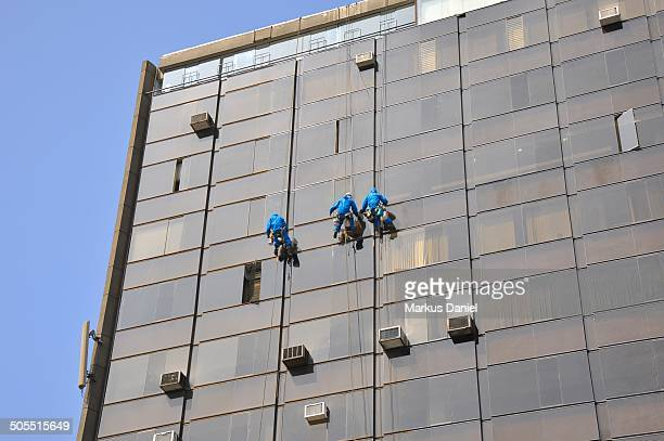 workers cleaning building in lima, peru - markus daniel stock pictures, royalty-free photos & images