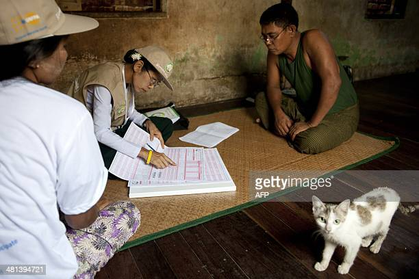 Workers collect census data from a man in Yangon on March 30 2014 Myanmar is preparing its first census in decades giving a vital snapshot of the...