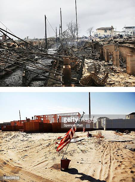 Homes sit destroyed after Hurricane Sandy on October 30 2012 in the Breezy Point neighborhood of the Queens borough of New York City NEW YORK NY...