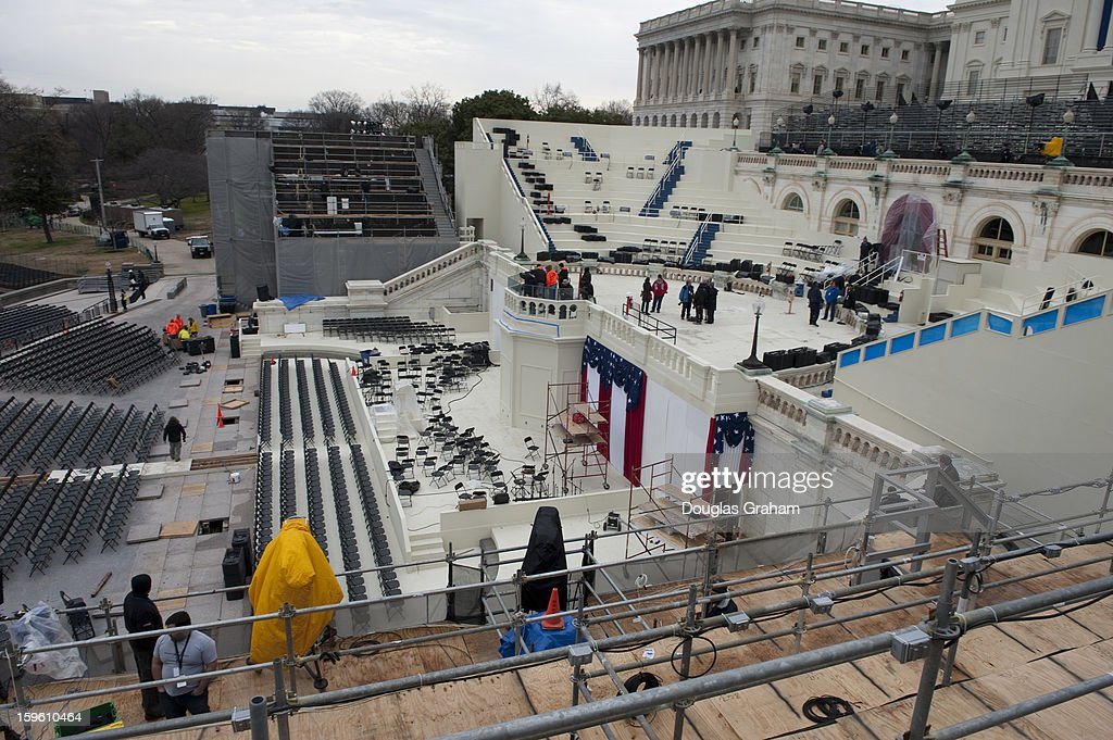 Workers continue to put on the finishing touches of the stands at the U.S. Capitol for President Barack Obama's Inauguration on January 17, 2013.