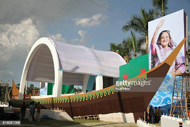 Workers decorated stage on a boat at Suhrawardy Udyan ahead of Awami Leagues National Council in Dhaka Bangladesh on October 20 2016