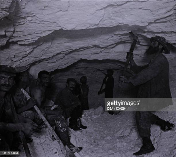 Workers dedicated to the excavation after the explosion construction of the Simplon Tunnel 18981905 ItalySwitzerland 19th20th century