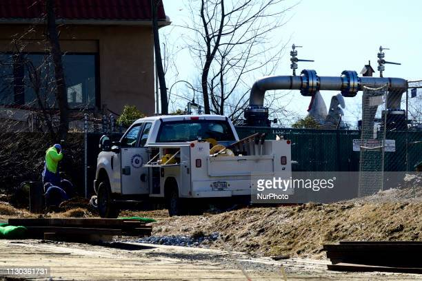 Workers dig near a part of a natural gas liquids pipeline in West Chester PA on March 13 2019 The 350mile crossstate Mariner East pipeline connects...