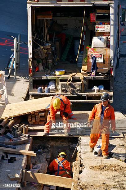 Workers doing street repair, Manhattan, New York City