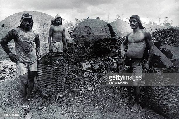 PARÁ Workers during fabrication of charcoal in Paragominas South east of the Pará state in Brazil PHOTO
