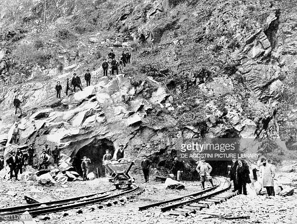 Workers during the construction of the Simplon Tunnel 1902 Italy 20th century Italy