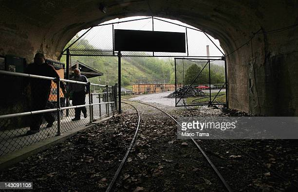 Workers enter the former entrance to the Portal 31 coal mine now a tourist attraction on April 18 2012 in Lynch Kentucky The historic coal mining...