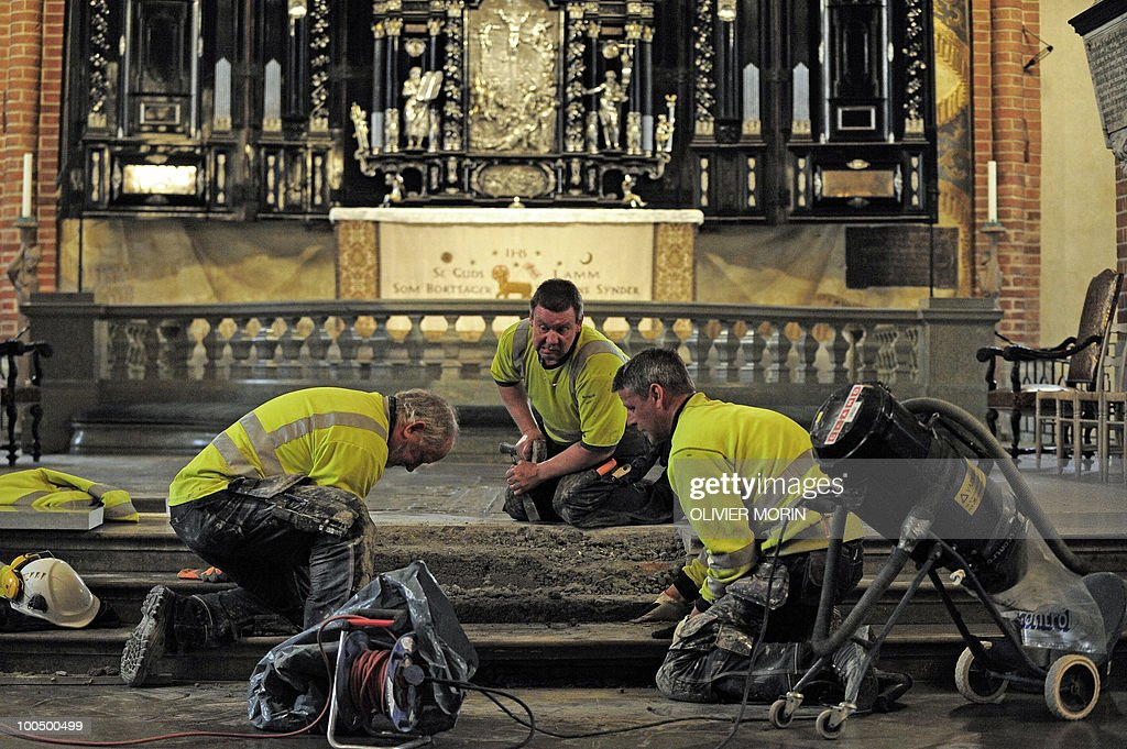 Workers fix some steps for renovation in the Cathedral, known as Storkyrkan situated near the Royal Castle in Stockholm on May 25, 2010, less than a month before Crown Princess Victoria 's wedding, the 32-year-old eldest daughter of King Carl XVI Gustaf. Tensions with the archbishop, the future prince's health problems and the soaring cost of the festivities are just some of the controversies surrounding the run-up to Swedish Crown Princess Victoria and her husband-to-be Daniel Westling's June 19 wedding.
