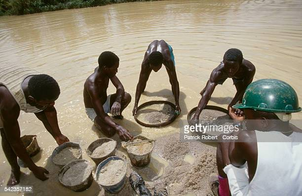 Workers for the diamond mining firm Branch Energy Ltd., owned by DiamondWorks in London. | Location: Kiodu, Sierra Leone.