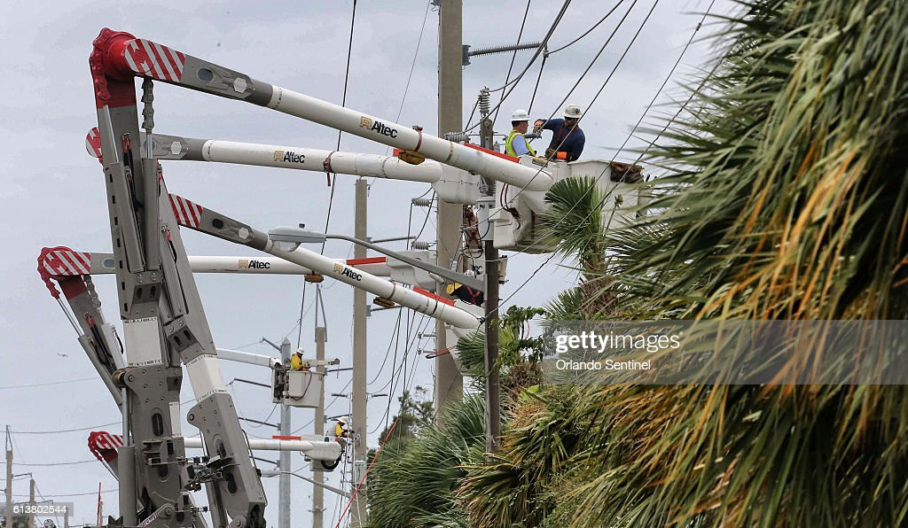 Workers From Jersey Central Power U0026 Light Repair High Voltage Power Lines  Downed By Hurricane
