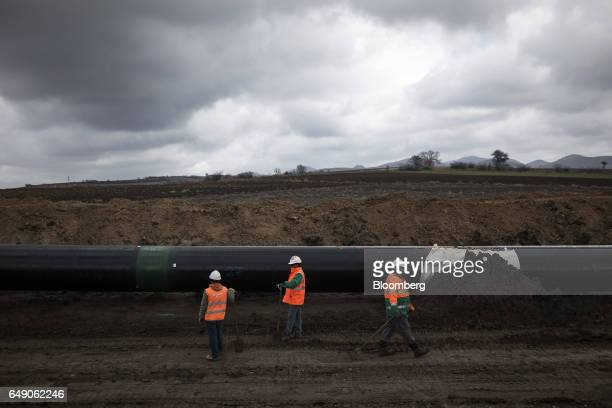 Workers from SpiecapagAktor JV supervise the laying of welded pipe sections into a trench at the 685km point during the construction of the Trans...