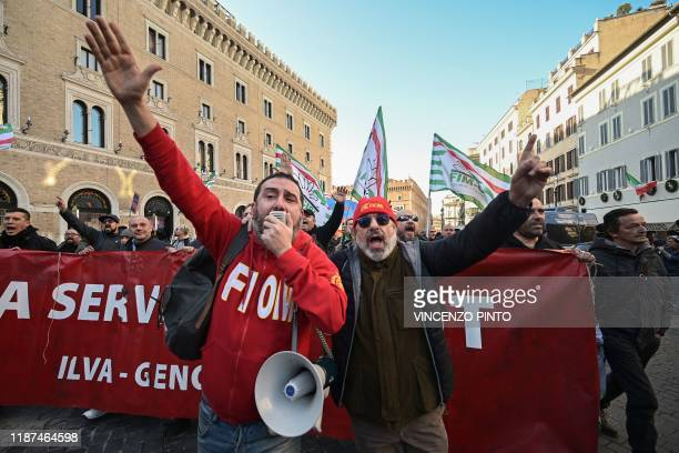 Workers from the Taranto exIlva steel factory join other workers and unions from all sectors coming from all over Italy particularly from the South...