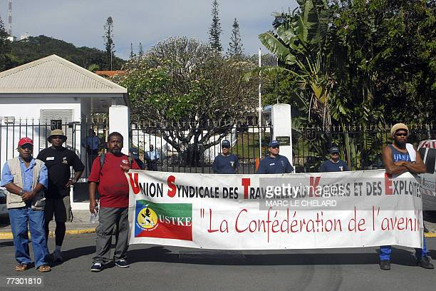 Workers from USTKE independent kanak workers tradeunion demonstrate 11 October 2007 in Noumea in the French Pacific island territory of New Caledonia...