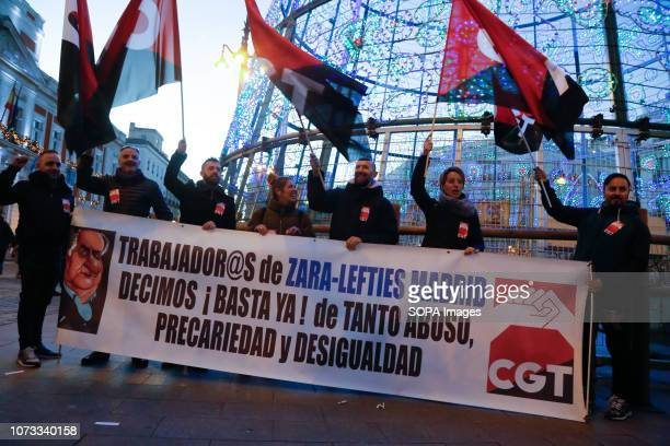 Workers from Zara and Lefties seen protesting against job insecurity and inequality Workers from various active strikes such as Carrefour Inditex...