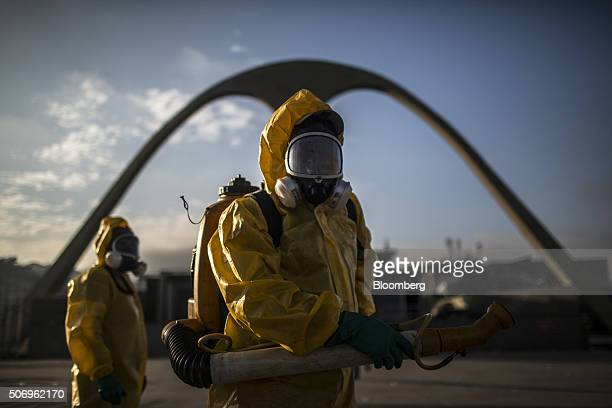 Workers fumigate the Sambadrome ahead of Carnival celebrations in Rio de Janeiro Brazil on Tuesday Jan 26 2016 The operation is part of the Health...