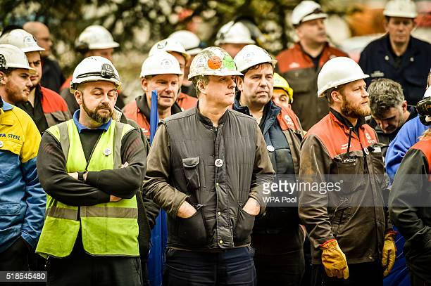 Workers gather at Tata steel works on April 1, 2016 in Port Talbot, Wales. Owners Tata Steel have put its British business up for sale placing...