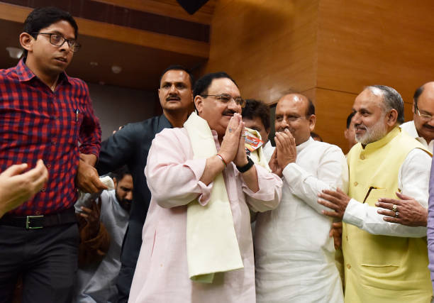 IND: BJP Workers Greets Newly Appointed BJP Working President Jagat Prakash Nadda At Party Office