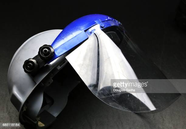 Workers hardhat and whole face shield