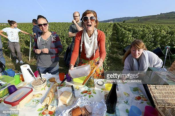 Workers have lunch in a vineyard during the grapeharvest on the farm of an organic wine producer in Champagne in Cumieres eastern France on September...