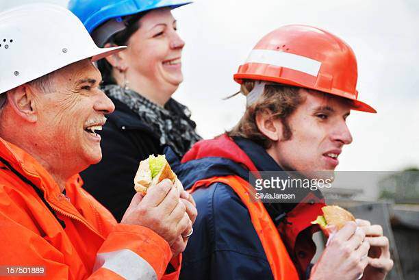 workers having lunch break