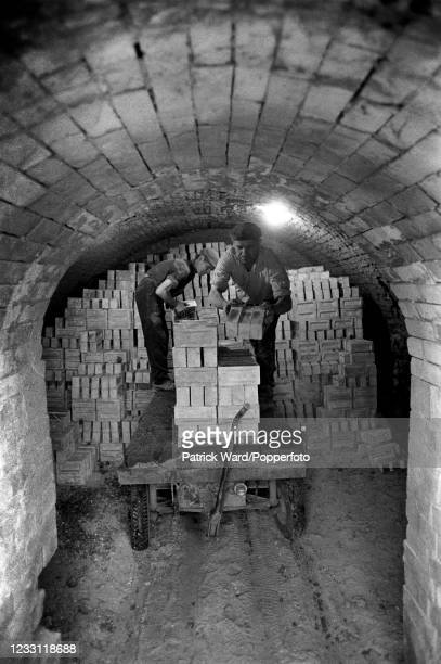 Workers in a brick factory near Peterborough, circa June 1969. From a series of images to illustrate the many frustrations of living in Britain...