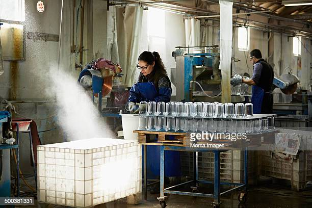 Workers in a glass factory