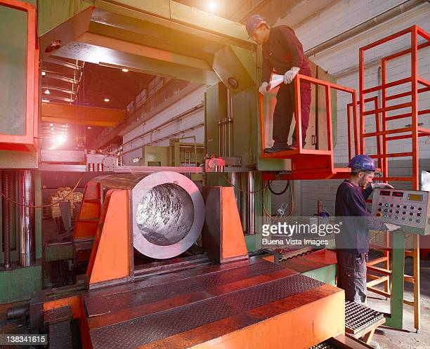 Workers in a steel factory